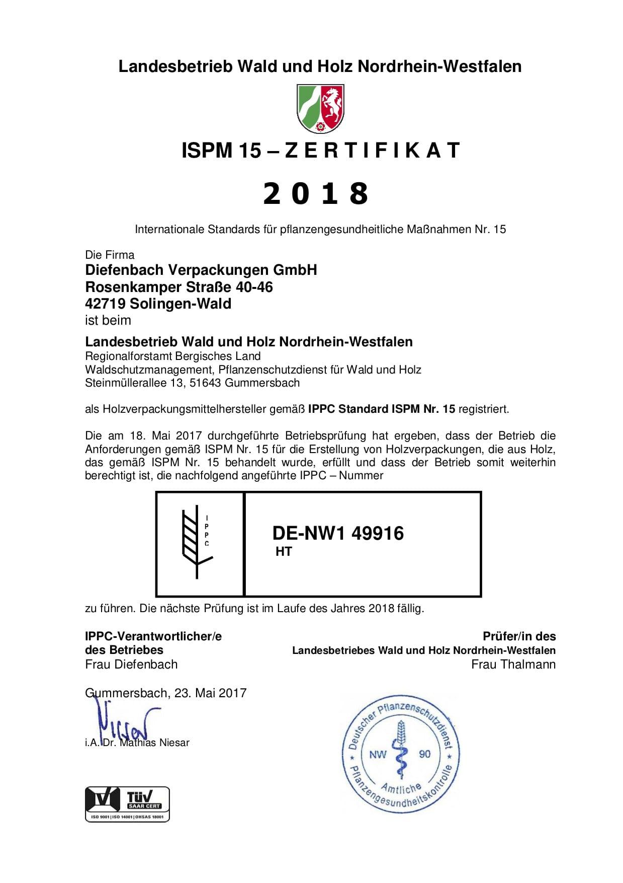 ISPM 15 Zertifikat 2018 für Diefenbach Verpackungen